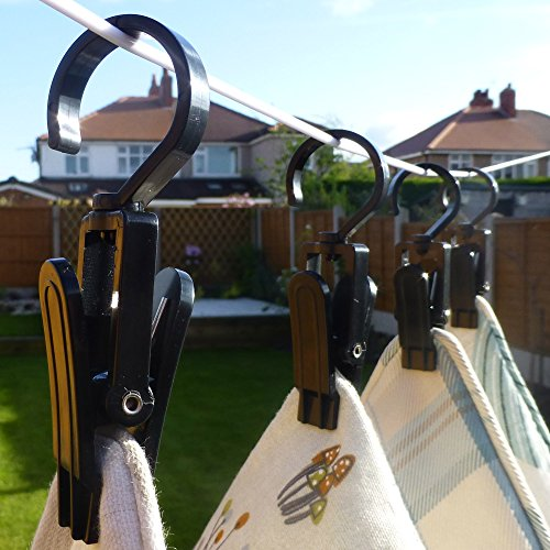 HANGERWORLD 10 Black 4.3inch Strong Plastic Clever Swivel Hook Clips for Home Office Workshop School