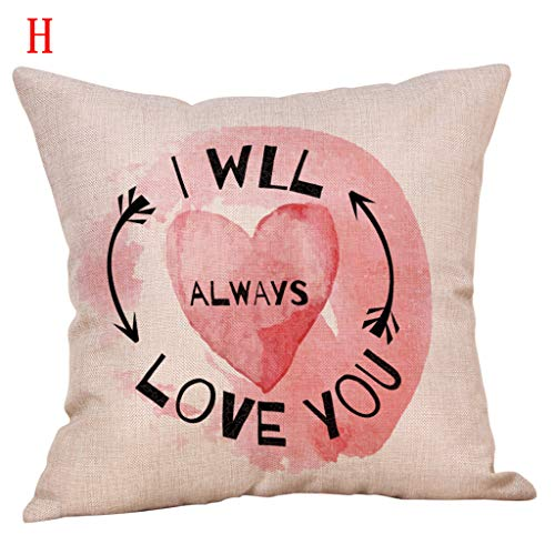 Throw Pillow Cover, DaySeventh Happy Valentine's Day Throw Pillow Case Sweet Love Square Cushion Cover 18x18 Inch 45x45 ()