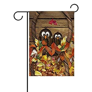 "ONEERA Thanksgiving Day Owls Fall Leaves Weatherproof Polyester House Flag 28"" x 40"""