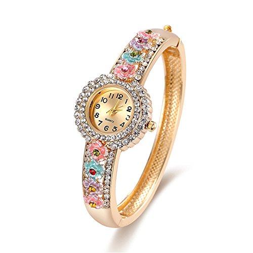 YJEdward Retro Flower Watch Bangle Wrap Bracelet Birhtday Mother Gift 18K Gold Plated Ethnic Jewelry