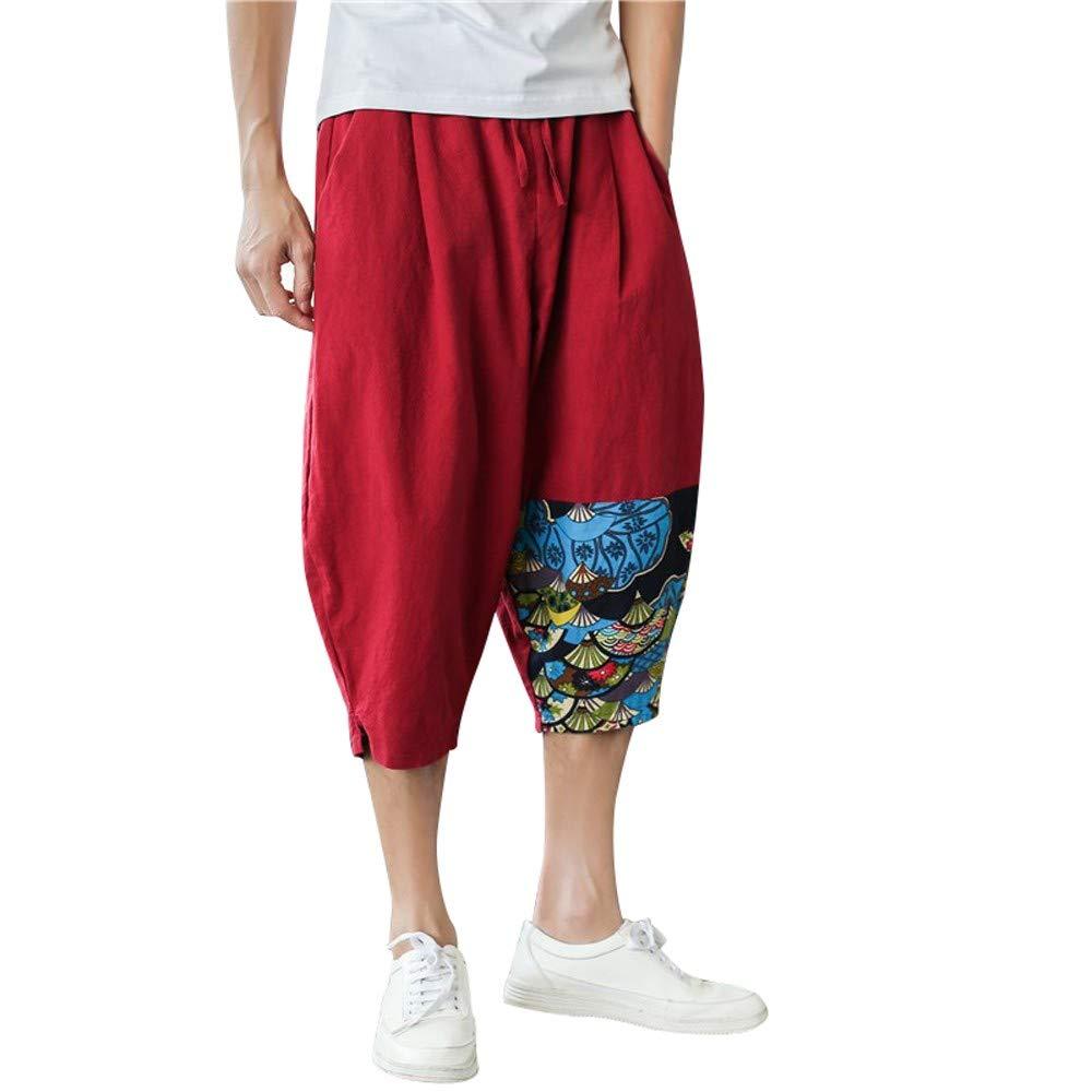 Pervobs Men's Casual Loose Elastic Waist Print Sports Baggy Cropped Harem Pants