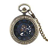 Ancient Bronze Engraved Pocket Watch for Men, Men's Mechanical Movement of The Pocket