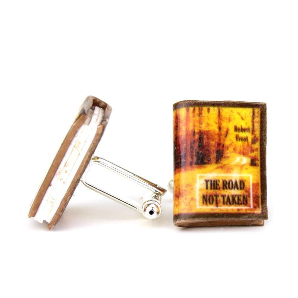 Robert Frost THE ROAD NOT TAKEN Clay Mini Book Cufflinks by Book Beads