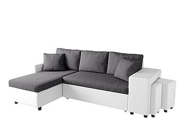 Usinestreet Canapé D Angle Oslo Convertible Gris Blanc Avec