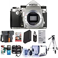 Pentax KP 24MP Compact TTL Autofocus DSLR Camera Silver - Bundle with 64GB SDXC Card, Holster Case, Spare Battery, Tripod, Flip Flash Bracket, Cleaning Kit, Screen Protector, Software Package And More