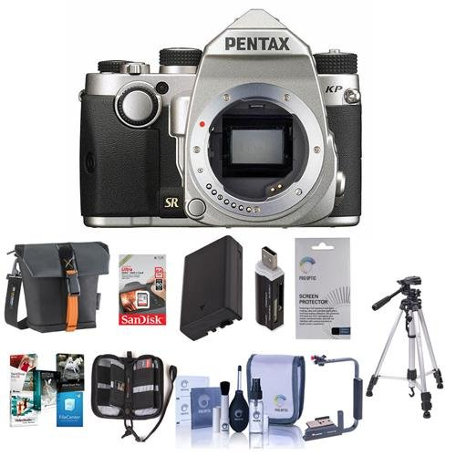 (Pentax KP 24MP Compact TTL Autofocus DSLR Camera Silver - Bundle with 64GB SDXC Card, Holster Case, Spare Battery, Tripod, Flip Flash Bracket, Cleaning Kit, Screen Protector, Software Package And More)