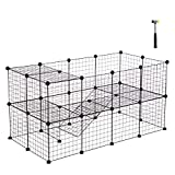 Cheap SONGMICS Pet Playpen Includes Cable Ties, Metal Wire Apartment-Style Two-Storey Bunny Fence and Kennel, Comfortable Pet Premium Villa for Guinea Pigs, Bunnies, Rabbits,Puppies,Indoor Upgrade ULPI02H