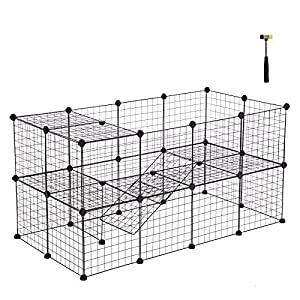 SONGMICS Pet Playpen Includes Cable Ties, Metal Wire Apartment-Style Two-Storey Bunny Fence and Kennel, Comfortable Pet Premium Villa for Guinea Pigs, Bunnies, Rabbits,Puppies,Indoor Upgrade ULPI02H 32