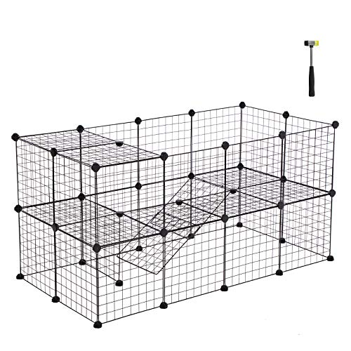 SONGMICS Pet Playpen Includes Cable Ties, Metal Wire Apartment-Style Two-Storey Bunny Fence and Kennel, Comfortable Pet Premium Villa for Guinea Pigs, Bunnies, Rabbits,Puppies,Indoor Upgrade ULPI02H ()