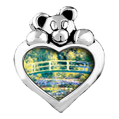 GiftJewelryShop Bridge at Giverny Emerald Green Crystal May Birthstone I Love You Heart Care Bear Charm Beads Bracelets