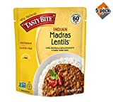 Tasty Bite Indian Entree Madras Lentils 10 Ounce (Pack of 6), Fully Cooked Indian Entrée with Lentils Red Beans & Spices in a Creamy Tomato Sauce, Microwaveable, Ready to Eat - 5 Pack