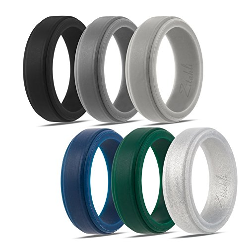 Silicone Wedding Ring,Silicone Wedding Band for Men,Camo,6 Pack, Metal Look Silver, Black, Grey, Blue (Z:Black,Silver,Dark Grey,Light Grey,Dark Green,Midnight Blue, - Bands Metal A-z