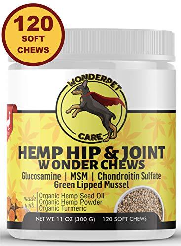 WonderPet Hemp Hip & Joint Supplement for Dogs Chondroitin Glucosamine MSM Organic Hemp Oil Hemp Powder Turmeric | Extra Strength Formula for Arthritis Pain Relief & Mobility Increase | 120 Soft Chews