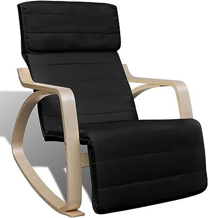 vidaXL Chaise à Bascule Cadre Bois Cintré Tissu Réglable Noir Salon Fauteuil
