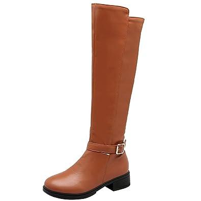 4c52de08b5be Artfaerie Womens Knee High Boots Block Low Heel Long Boots with Zip Flat  Faux Fur Lined
