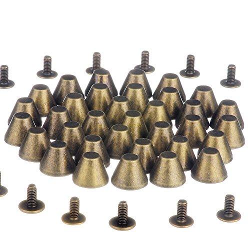RUBYCA 10 Sets Bronze Color 8MM Big Mushroom Studs and Spikes Metal Screw-Back Leather-Craft DIY 8mm