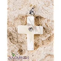 Catholic Cross Pendant Mother Of Pearl with Zircon Crystal Handmade Crucifix Holy Land