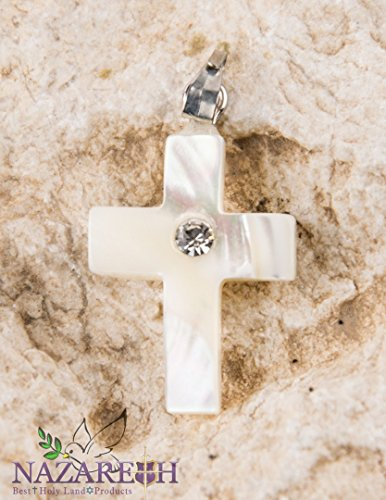 - Catholic Cross Pendant Mother Of Pearl with Zircon Crystal Handmade Crucifix Holy Land