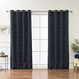 Best Home Fashion Star Print Thermal Insulated Blackout Curtains – Antique Bronze Grommet Top – Navy – 52″ W x 84″ L – (Set of 2 Panels) For Sale