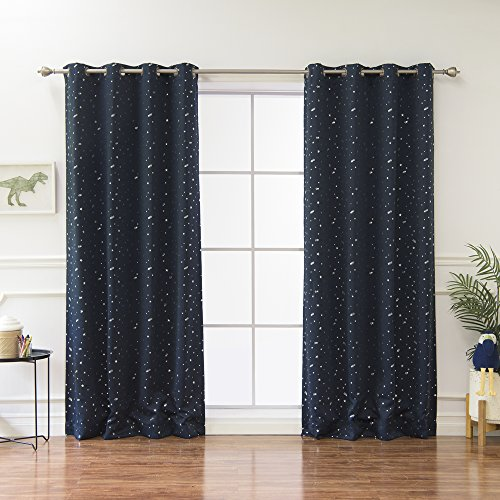 Best Home Fashion Star Print Thermal Insulated Blackout Curtains - Antique Bronze Grommet Top - Navy - 52