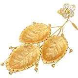 Gold Centerpiece Bowls Plates Decorative Serving Platters Leaf Dishes Set of 3 Metal Racks Crystal Decorations Serve Fruit Dessert Snacks Candy for Birthday Wedding Party Thanksgiving Christmas