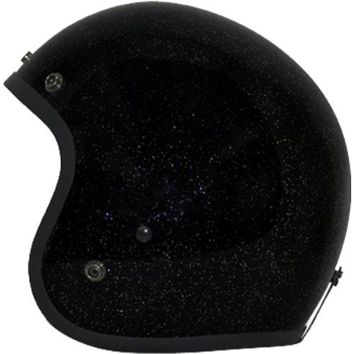 Daytona Metal Flake D.O.T. Approved 3/4 Shell Cruiser Motorcycle Helmet - Black / Small