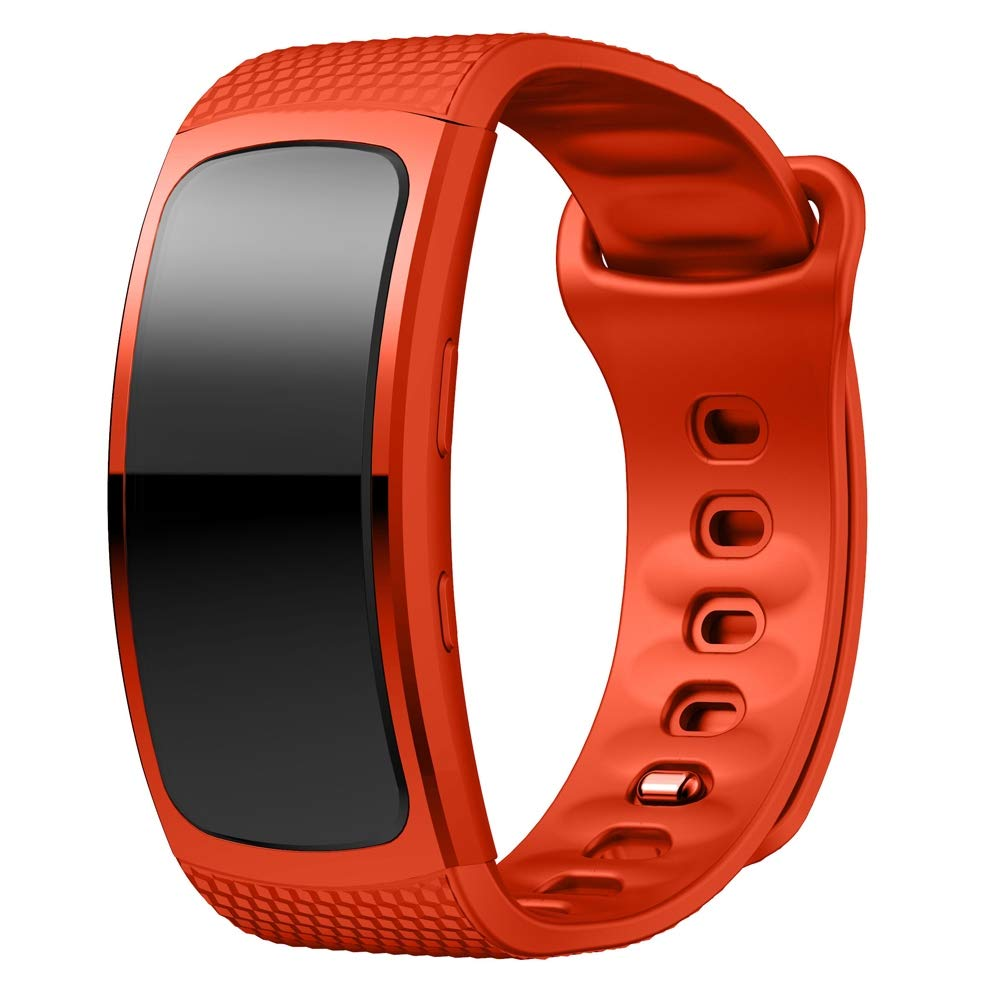 Silicone Wrist Strap Watch Band for Samsung Gear Fit2 SM-R360, Wrist Strap Size:126-175mm Premium Quality (Color : Orange) by GuiPing