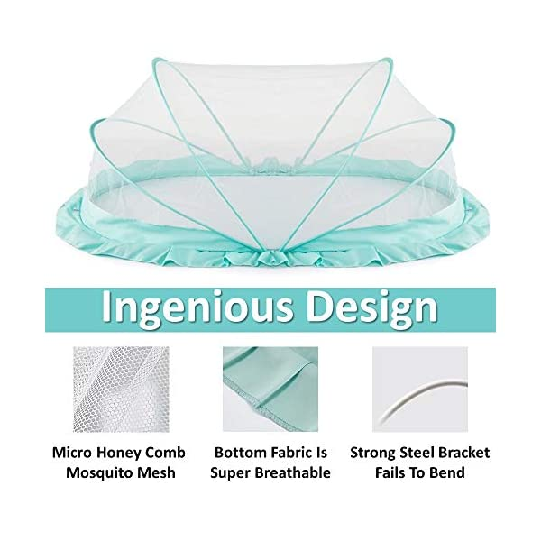 """LifeKrafts Foldable Baby Mosquito Net, Bottomless Net for Infants, for Safe & Easy Use   Ensures Your Baby's Safe Sleep 2021 August Highly durable see through mesh fabric used in the net ensures breath-ability and provides protection from mosquitoes and other insects Designed it to maximum space, creating a snug perimeter around the inside of the crib and making a """"safe little home"""" for your baby Micro Hole: 100% fine premium honeycomb patterned mosquito mesh blocks even the tiny mosquitoes"""