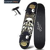 "Sefulim 31""x8"" Pro Complete Skateboard Skull Skateboard with Skate Tool Set for Kids, Boys, Girls, Youths, Beginners."