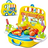 Role Play Kitchen Playset Toy Kids Pretend Cooking Kit Food Set Xmas Gift for Children 3 Years Old