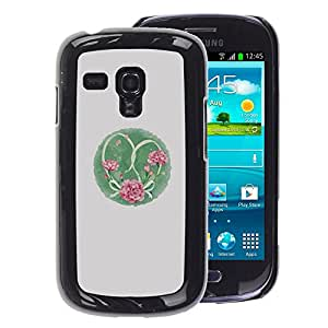 A-type Arte & diseño plástico duro Fundas Cover Cubre Hard Case Cover para Samsung Galaxy S3 MINI 8190 (NOT S3) (Twine Flowers Pink Grey)