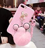 iPhone 6 Plus Case,iPhone 6S Plus Case,Fashion Lovely Cartoon Mouse Ears Ring Holder Plush Ball Phone Case Cover For iPhone 6 PLus/6S Plus 5.5 inch,Pink