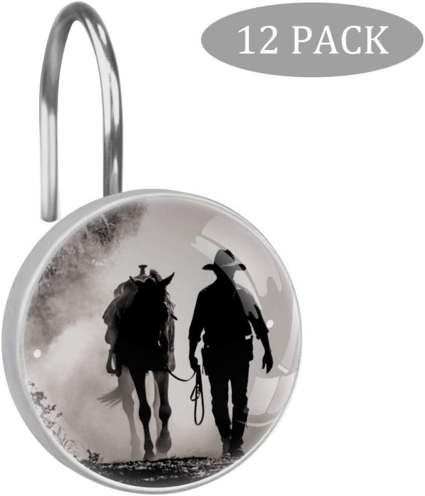 Shiiny - Anillas decorativas para cortina de ducha de acero inoxidable resistente al óxido, diseño de caballos de cowboy