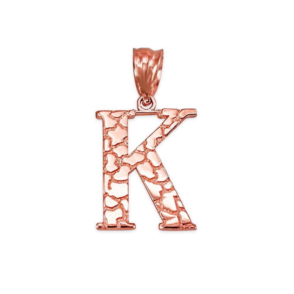 LA BLINGZ 14K Rose Gold Nugget Initial Letter K Pendant