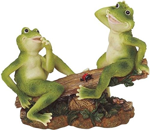 George S. Chen Imports SS-G-61041 2 Frogs on Seesaw Garden Decoration Collectible Figurine Statue Model (Frog Garden Statue)