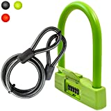Lumintrail 18mm 5 Digit Combination Bike U-Lock with 4-Foot Braided Steel Cable (Green) For Sale
