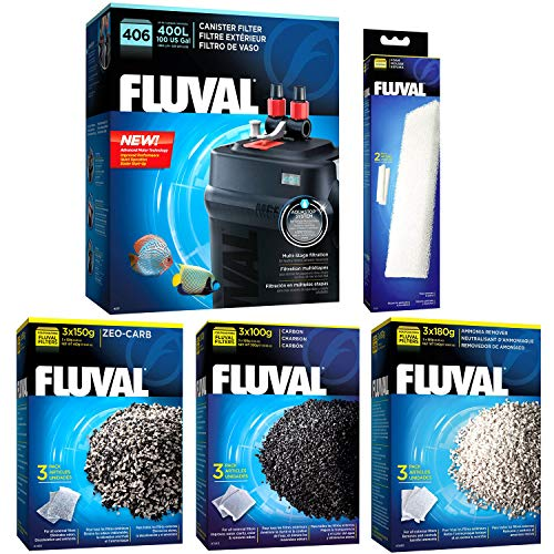 Fluval 406 A217 Filter w/Foam, Carbon, Ammonia Remover & Zeo-Carb -