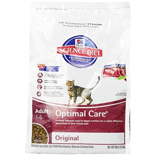 Science Diet Adult Optimal Care Original Dry Cat Food 4-Pound Bag (Linatone Food Supplement)