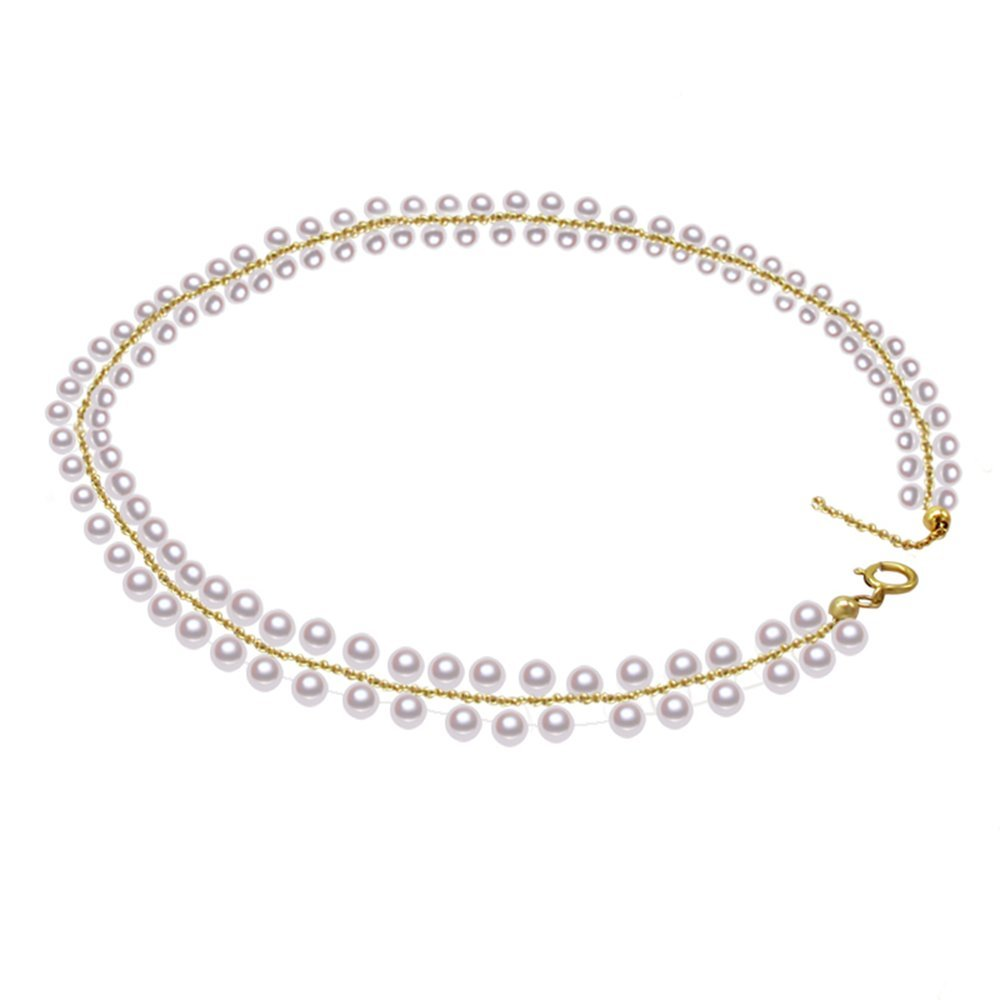 Rakumi Double -row White Faux Pearl Necklace Choker 16''