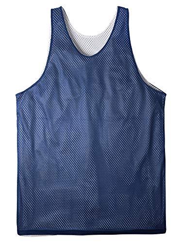 Ma Croix Mens Reversible Mesh Basketball Jersey Quick Drying Sleeveless Tank Top Active Uniform (3X-Large, 1ih05_Navy)