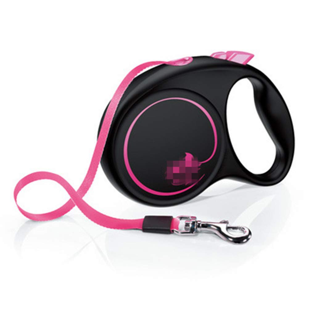 ZCYX Pet Leash Dog Automatic Telescopic Traction Rope Small Medium Dog Canine Dog Leash Dog Chain Stretchable Dog -pet Leash (Color : Pink)