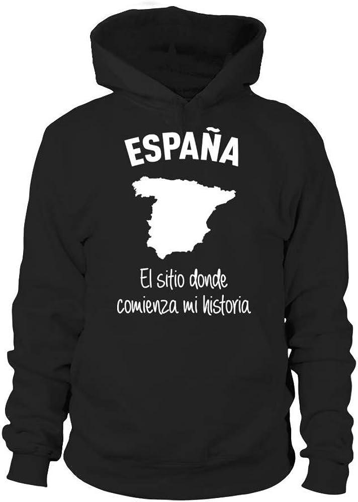 TEEZILY Sudadera con Capucha Unisex España el Sitio Donde Comienza ...