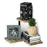 SRIWATANA Corner Shelf, 2 Tier Floating Shelves Wall Mounted, Rustic Wood Wall Shelves Bedroom, Living Room, Bathroom, Kitchen, Office More