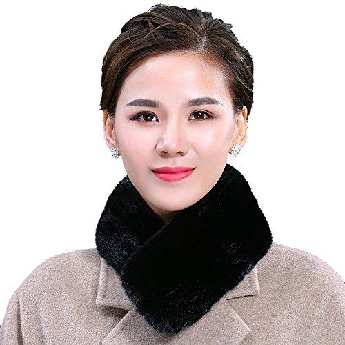MINGXINTECH womens mink fur scarf brief pure color short fashion neckerchief by MINGXINTECH