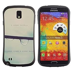 All-Round híbrido de goma duro caso cubierta protectora Accesorio Generación-I BY RAYDREAMMM - Samsung Galaxy Note 3 N9000 N9002 N9005 - Raindrop Falling Mist Grey Rain Spring Text