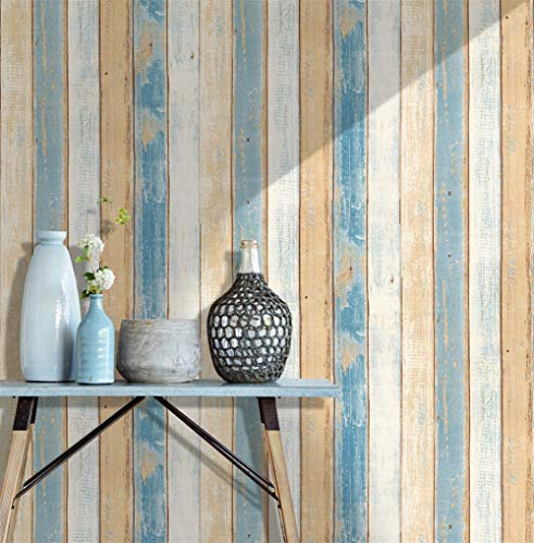- HaokHome 610991-3 Thick Quality Vintage Wood Plank Wallpaper Rolls 17.7