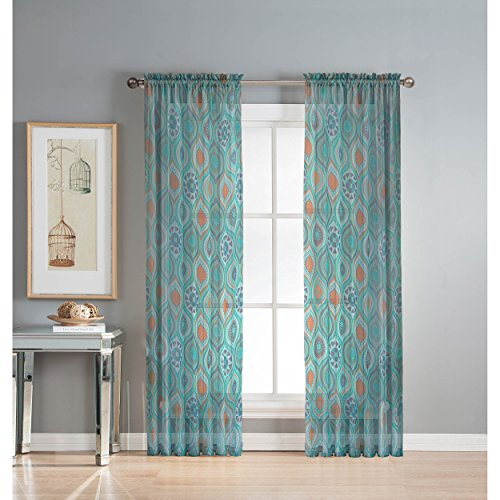 Window Elements Olina Printed Sheer Extra Wide 54 x 84 in. Grommet Curtain Panel, Aqua