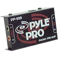 Pyle Phono Turntable Preamp - Preamplificador con mini fonógrafo de audio estéreo electrónico con entrada RCA, salida RCA y funcionamiento con bajo nivel de ruido alimentado por un adaptador de CC de 12 voltios - PP999
