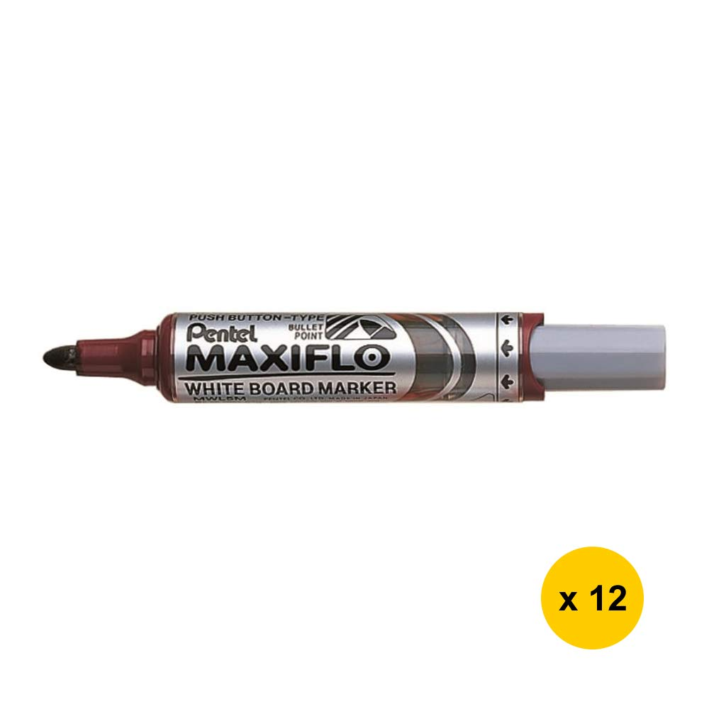 MAXIFLO MWL5M Whiteboard Marker (Medium Bullet Point) (12pcs) - Brown Ink (with Sticky Notes) [PenteI]