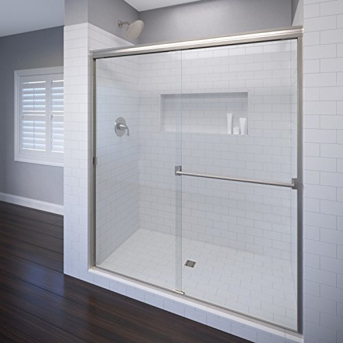 Basco Classic Sliding Shower Door, Fits 44-47 inch opening, Clear Glass, Brushed Nickel Finish ()